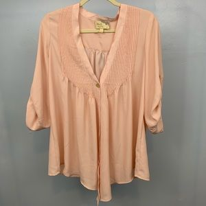Elizabeth and James   Pink Silky Button Front Top